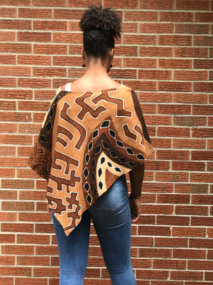 Bogolan Mud Cloth Poncho Rust