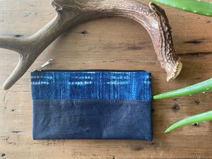 Leather and Indigo Clutch