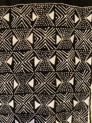 Black and White Mudcloth Scarf