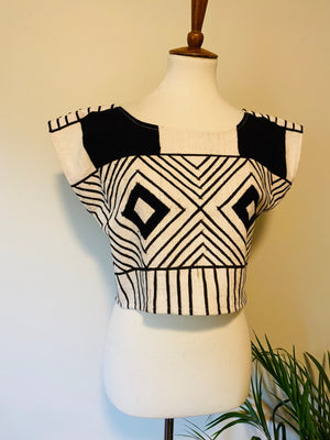 Bogolan Mudcloth Crop Top White