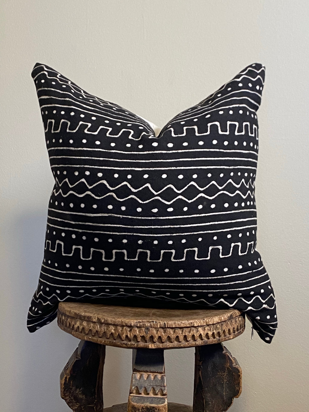 Black Mudcloth Pillow Waves