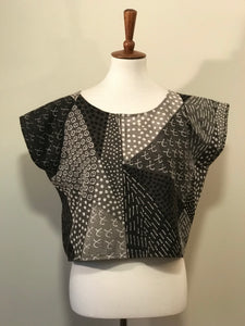 Bogolan Mud Cloth Crop Top Grey