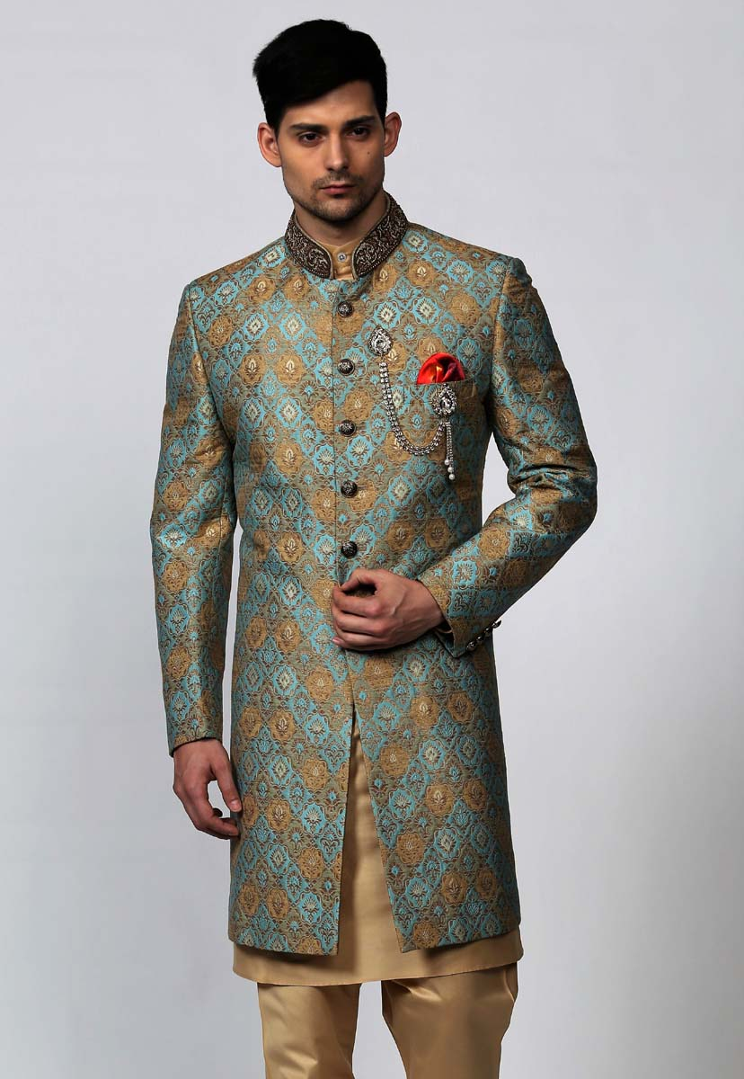 Olive Jacquard Indowestern with