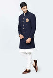 Blue indowestrn sherwani set