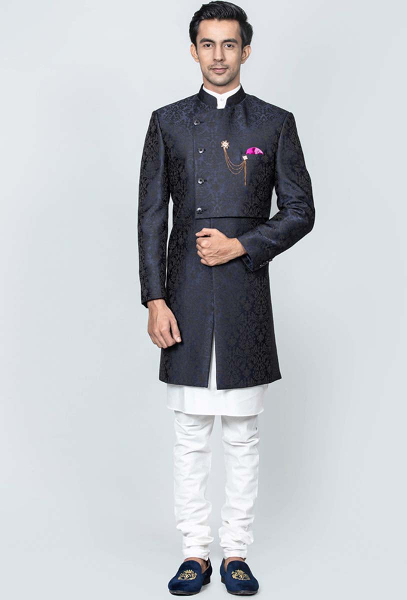 Double flap blue indowestern set