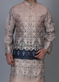 Printed Beige kurta jacket set with blue placement