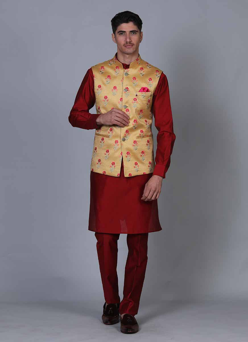 Embroidered Red kurta jacket set