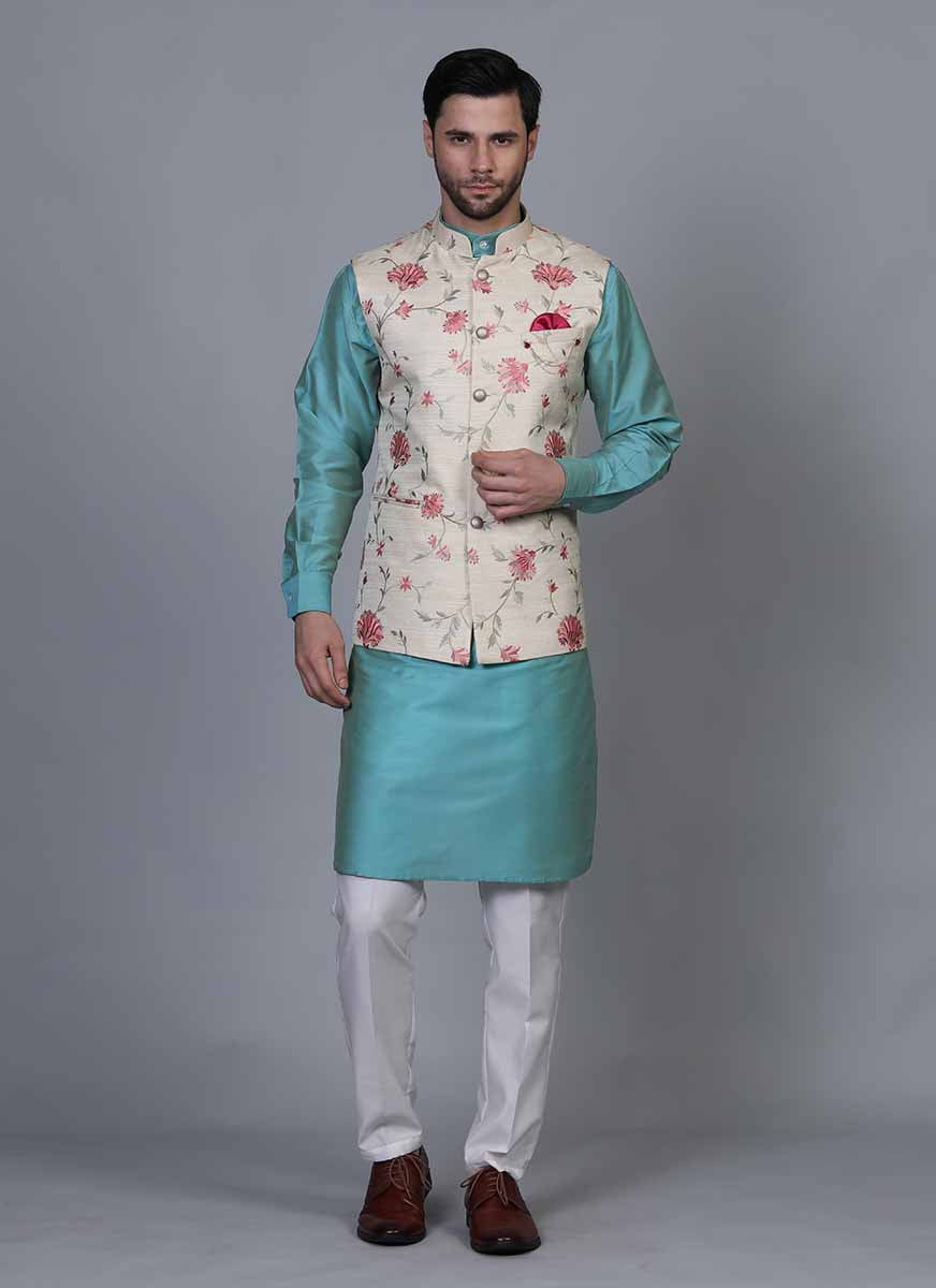 Embroidered Blue kurta jacket set
