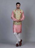 Embroidered Pink kurta jacket set