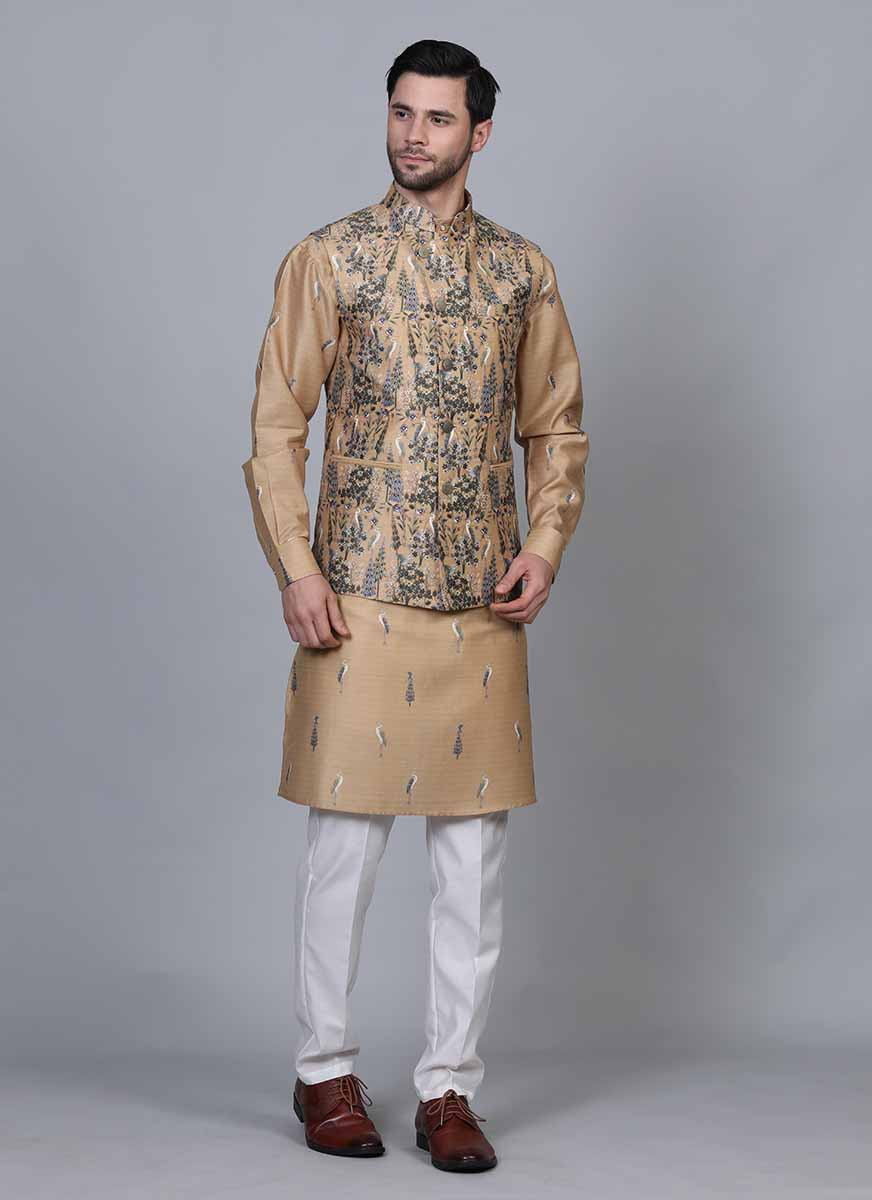 Printed Beige kurta jacket set