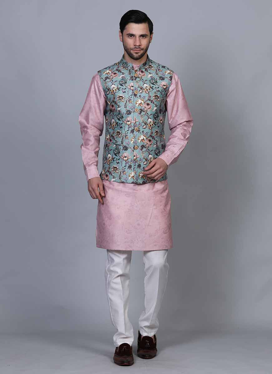 Printed Pink kurta jacket set