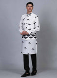Printed Offwhite kurta jacket set