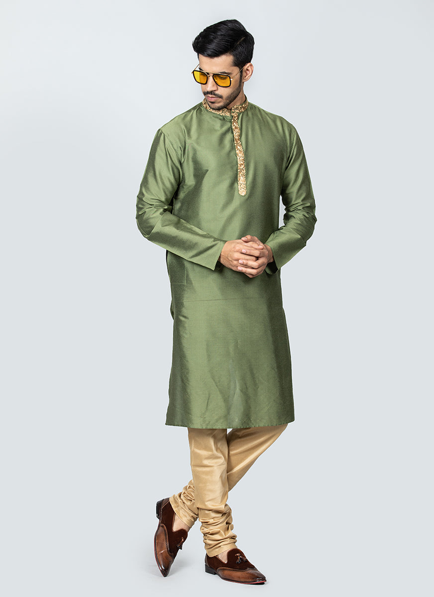 Embroidered Green Kurta Set