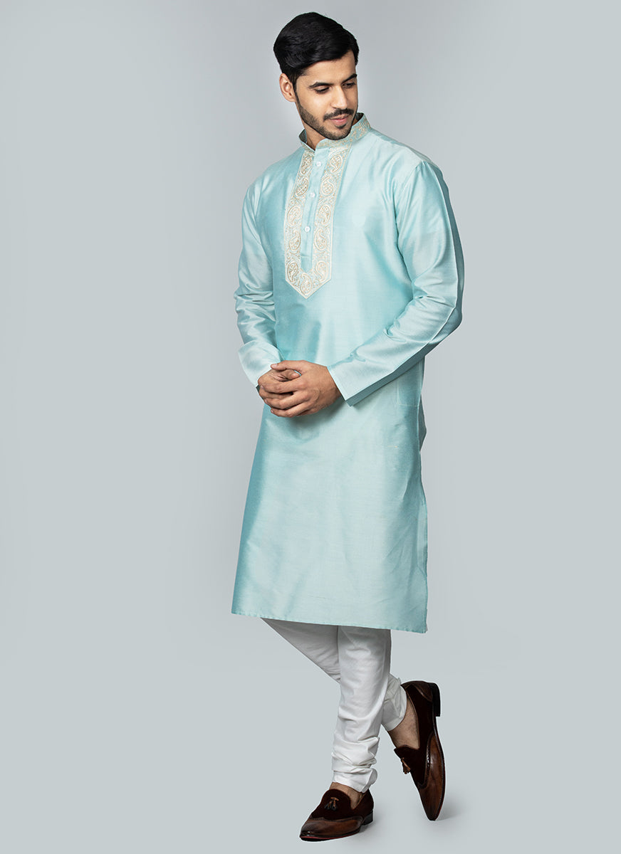 Embroidered Aqua Blue Kurta Set