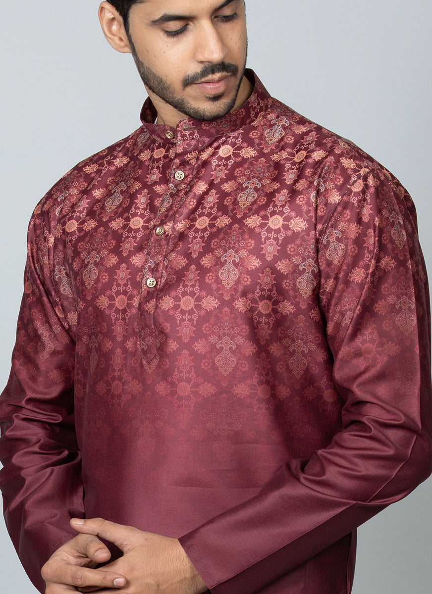 Printed Kurta Set Red