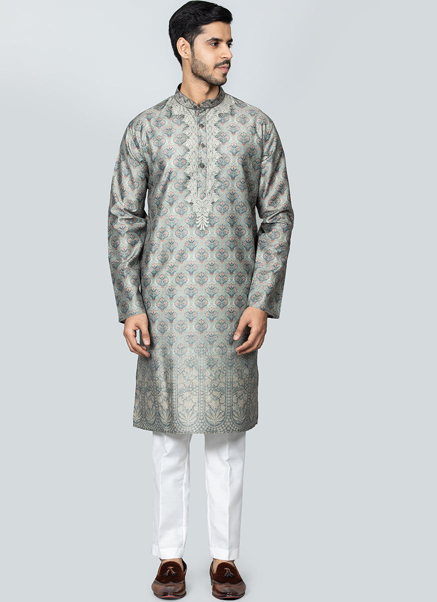 Printed Kurta Set Light Green