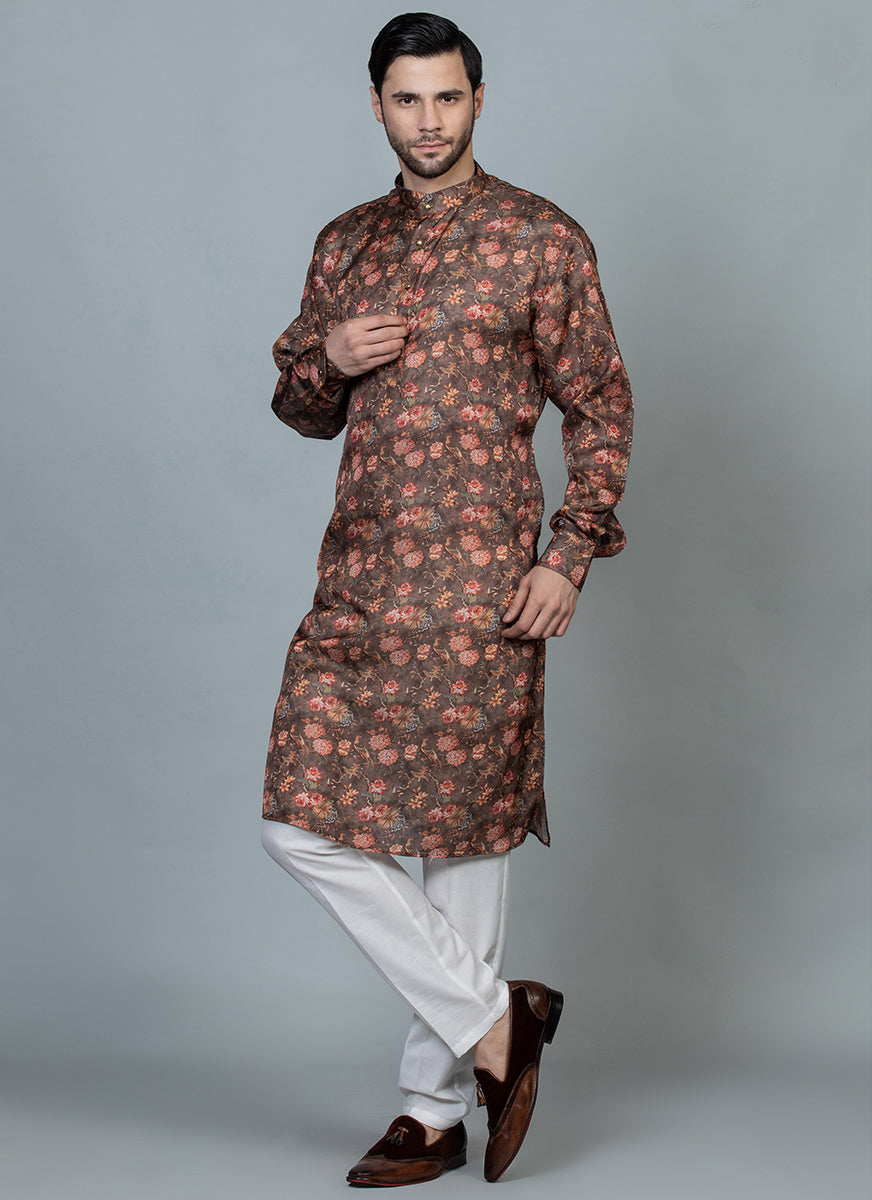 Printed Silk Kurta Set Rust brown