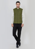 Green blended nehru jacket