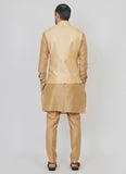 Timeless Brocade silk gold jacket with beige kurta set