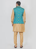 Stylish blue jacket with a fawn kurta set