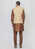 Jacquard jacket with Brown kurta set