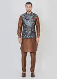 Trendy Grey Jacquard Jacket with brown kurta set