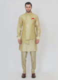 Poly Silk Slub With Crystal Work Kurta Set