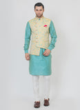 Asymmetric yellow Jacket with kurta set
