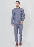 Blue structured Bandhgala suit