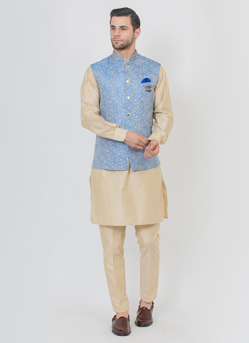 Jacquard Blended Jacket With Kurta Set