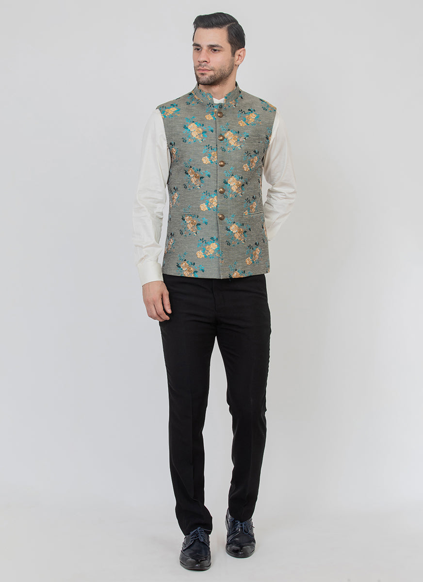 Trendy Grey Jacquard Jacket