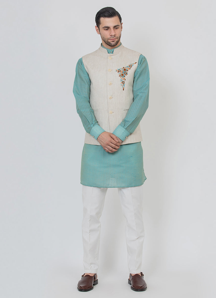 Linin Waist Coat With Kurta Set