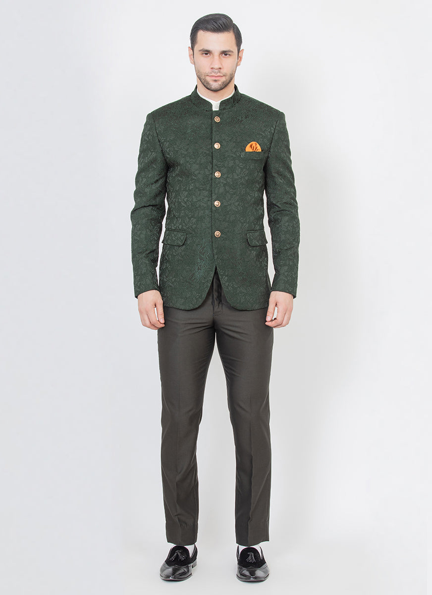 Contemporary Green Jacquard Bandhgala suit