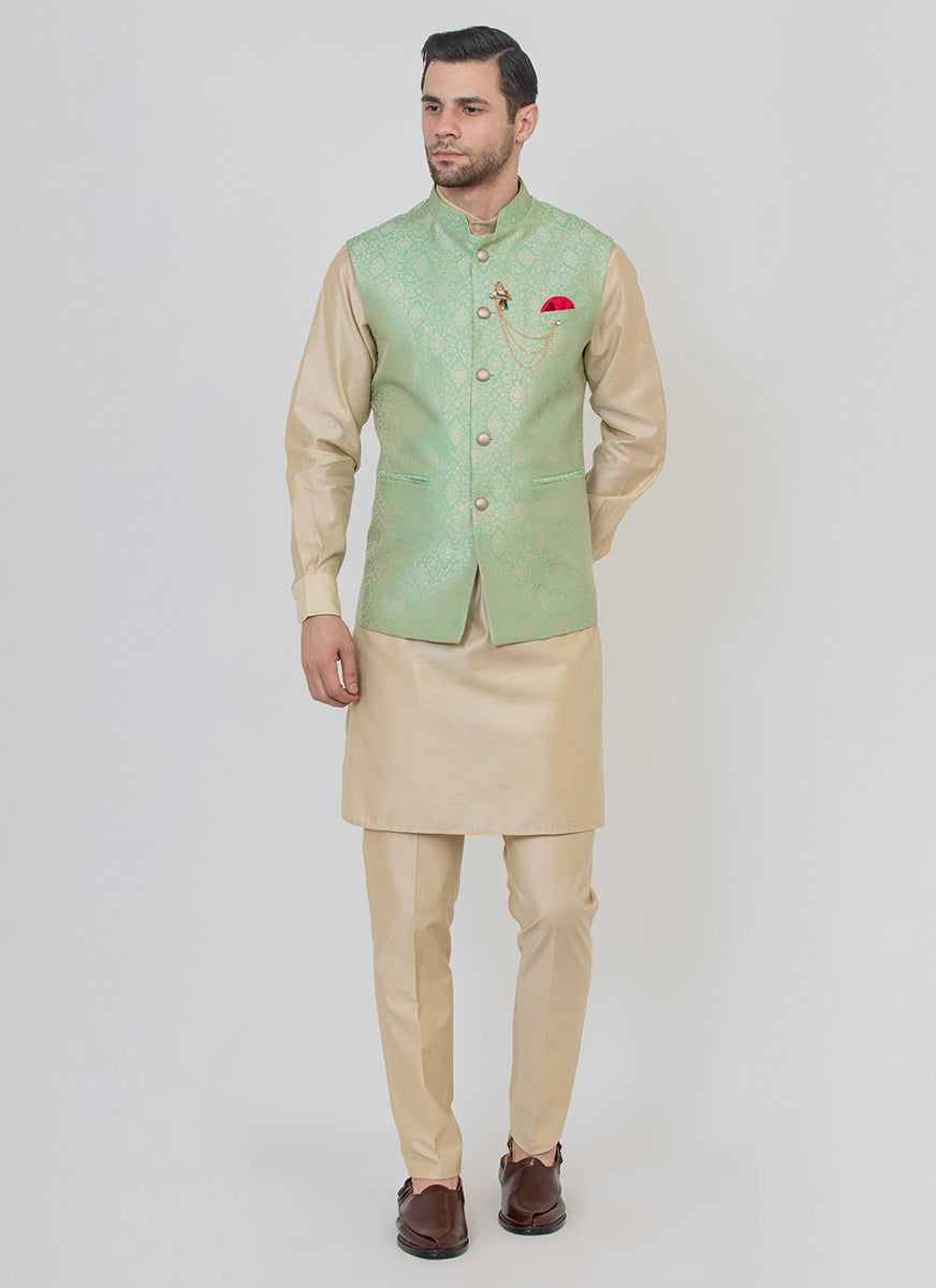 Timeless Brocade silk green jacket with a beige kurta set