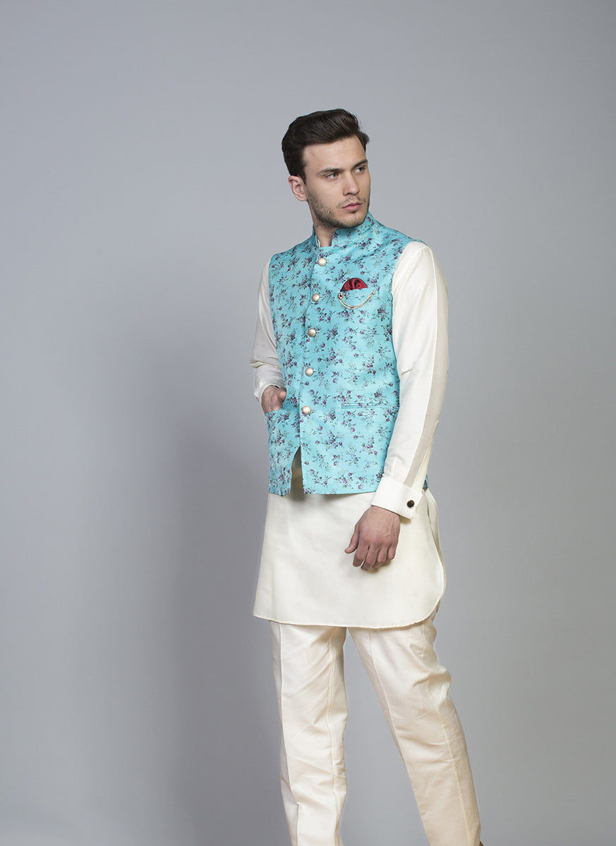 Blue Printed Silk Bundi With Kurta Set
