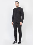 Black Bandhgala Suit with crystal collar