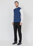 Blue Blended Nehru Jacket