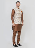 Digital print fawn jacket with brown kurta set
