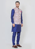 Beautiful Floral print jacket with a blue kurta set