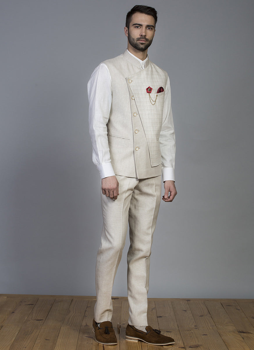 Off White Linen Waist Coat Set
