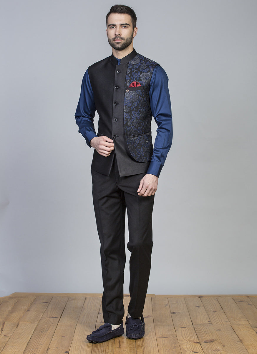 Blue Self Jacquard Waist Coat Set