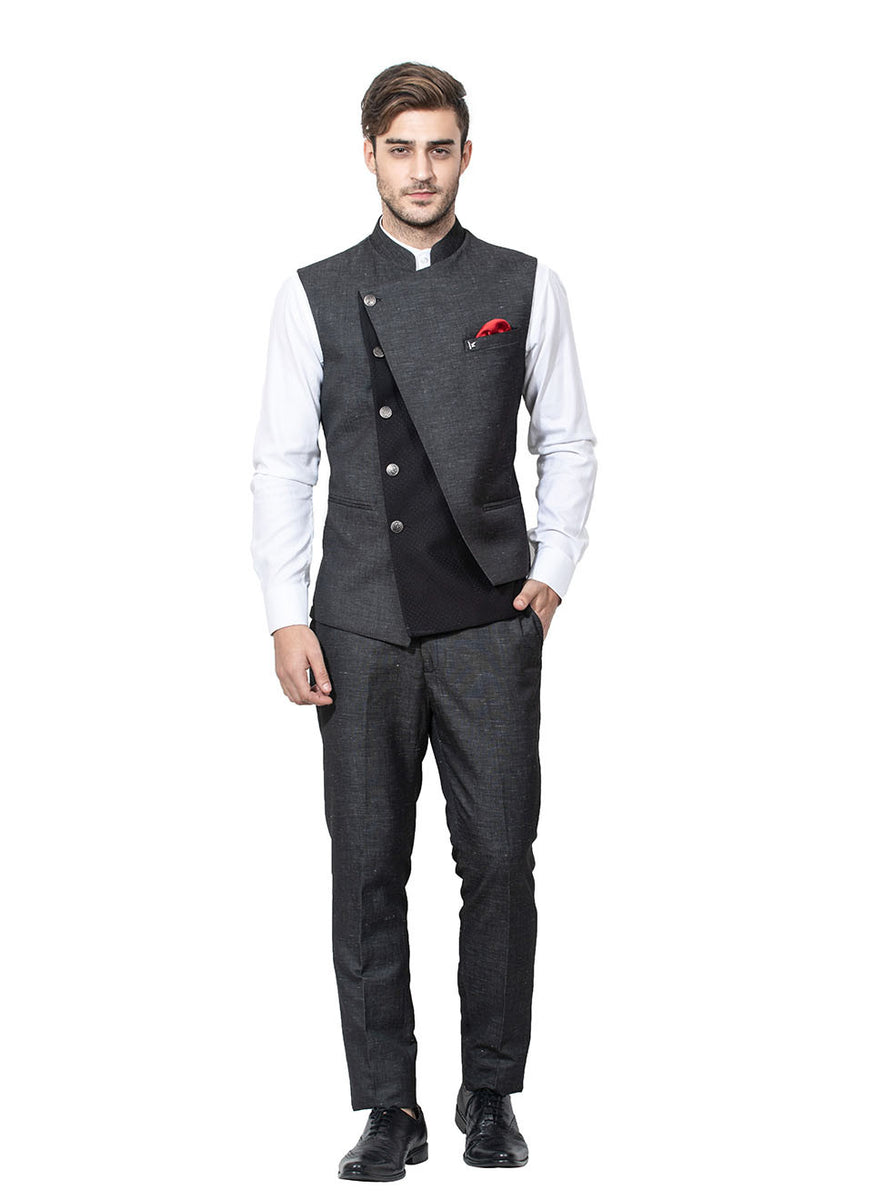 Grey Coloured Waistcoat Set In Blended Fabric