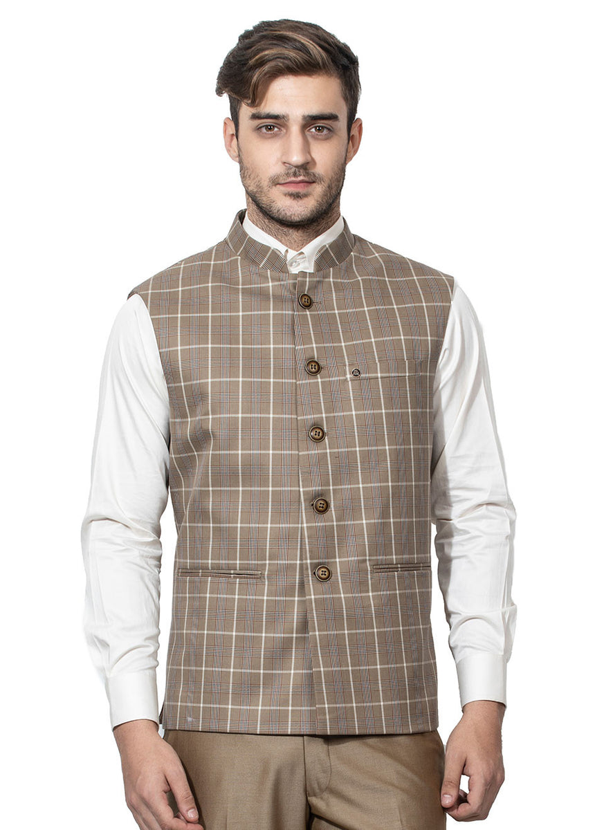 Khaki Coloured Bundi In Blended Fabric