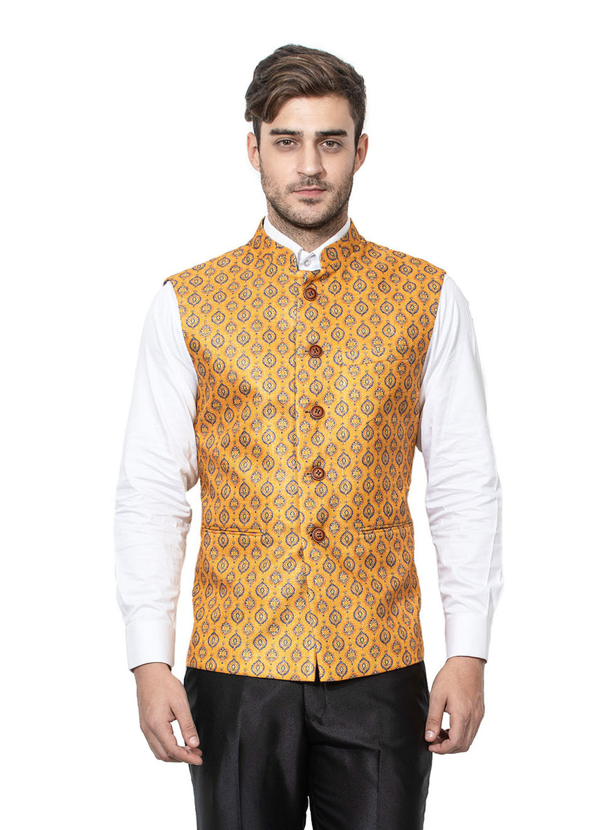 Mustard Coloured Bundi In Giza Cotton