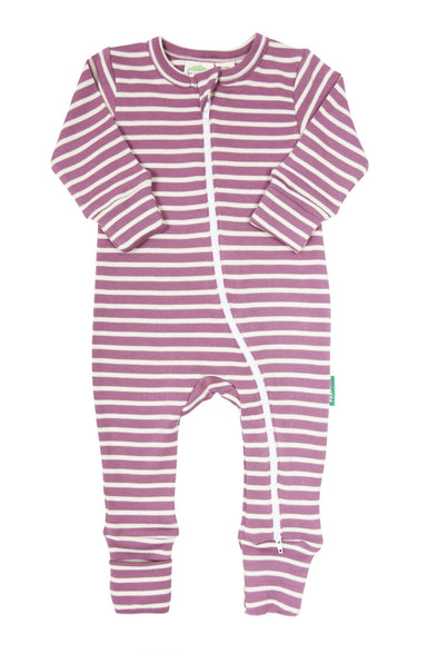 Signature Stripes '2-Way' Zip Romper - Long Sleeve