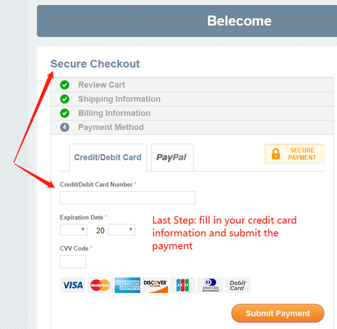 How to pay by credit card online - last step