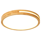 LED Ceiling Light Remote Control Wooden Round