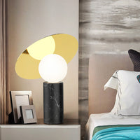 Bola Disc Table Lamp in Marquina Marble