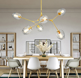 Branching Glass Bubble Brass Chandelier