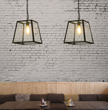 Industrial Retro Wrought Iron Glass Pendant